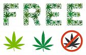 Free Caption Collage Of Weed Leaves In Variable Sizes And Green Variations. Vector Flat Marijuana Le poster