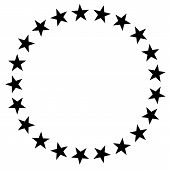 Stars In Circle Icon On White Background. Flat Style. Stars Border Frame Symbol. European Union Sign poster