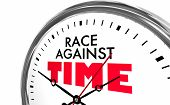 Race Against Time Compete Win Racing Clock Words 3d Illustration poster