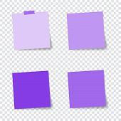 Set Of Paper Stickers With Shadow On Transparent Background. Vector Illustration. Violet Design. Pos poster