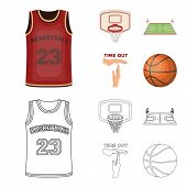 Basketball And Attributes Cartoon, Outline Icons In Set Collection For Design.basketball Player And  poster