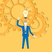 Flat Design Vector With A Businessman Inventing An Idea With Cogwheels In The Background. poster