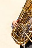 Closeup Of Tuba Player In The Street.  Presentation Of The Brass Band. The Instrument Of The Brass B poster