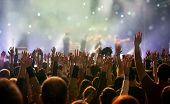 Crowd at concert - Cheering crowd in bright colorful stage lights poster