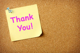 stock photo of thank you note  - Thank You note pinned to corkboard background - JPG