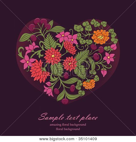 valentine greeting card with heart from flowers