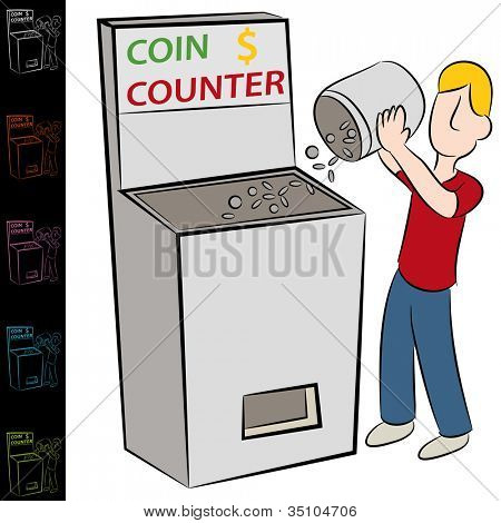 An image of a man using a coin counting machine.