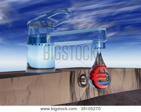High resolution concept or conceptual abstract tap with a drop falling over blue sky background as a metaphor for money,euro,crisis,finance,economy,waste,banking,business,loss,source,wealth or rich