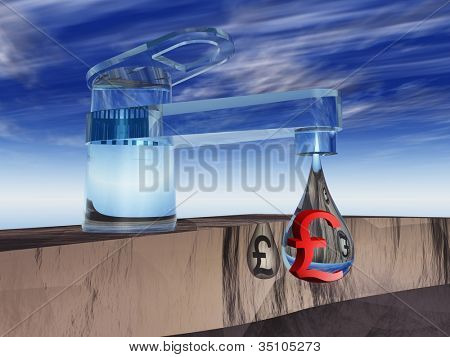High resolution concept or conceptual abstract tap with a drop falling over blue sky background as a metaphor for money,pound,crisis,finance,economy,waste,banking,business,loss,source,wealth or rich