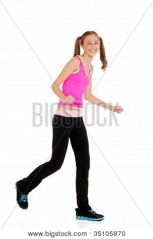 Teen girl laughing doing fitness