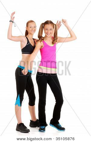 two young women doing fitness
