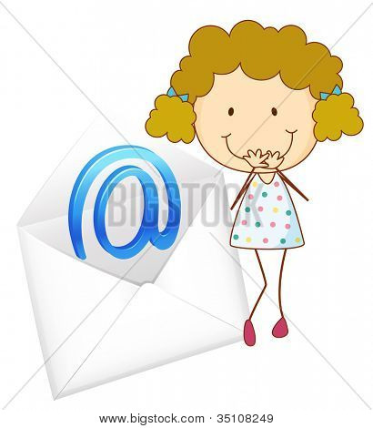 illustration of a girl with mail envelop on a white