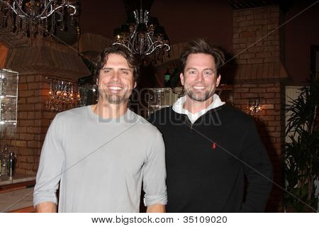 LOS ANGELES - MAR 24:  Joshua Morrow, Michael Muhney at the Young & Restless 38th Anniversary On Set Press Party at CBS Television City on March 24, 2011 in Los Angeles, CA