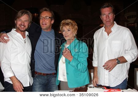LOS ANGELES - MAR 24:  Stephen Nichols, Doug Davidson, Jeanne Cooper, Peter Bergman at the Young & Restless 38th Anniversary On Set Party at CBS Television City on March 24, 2011 in Los Angeles, CA