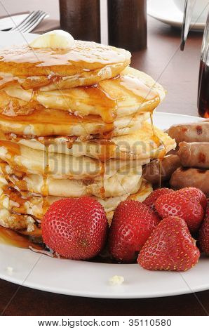 Tall Stack Of Homemade Pancakes