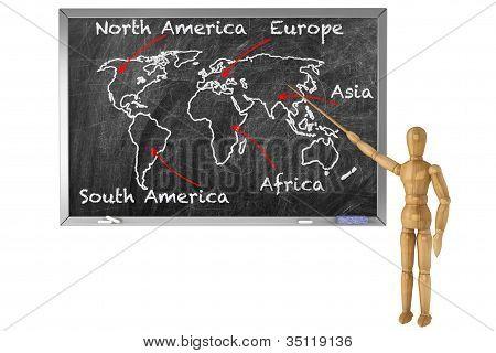 Blackboard With Wooden Dummy