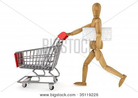 Wooden Dummy With Shopping Cart And Keyboard