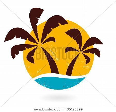 Retro Grunge Palms pictogram geïsoleerd op wit