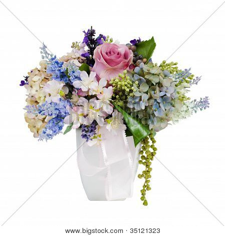Colorful Flower Bouquet Arrangement Centerpiece In Vase Isolated On White
