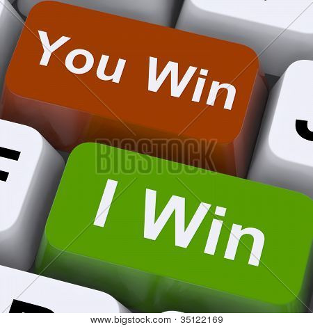 You Or I Win Keys Show Gambling Or Victory