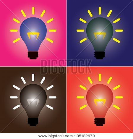 Colorful Set Of Bright Colored And Vibrant Incandescent Glowing Light Bulbs Showing Burning Filament