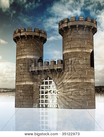 Medieval gate with closed steel lattice and two guard towers