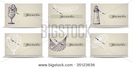 vintage business cards set