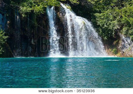 Waterfall And Sea-green Lake In Plitvice Lakes National Park (croatia).