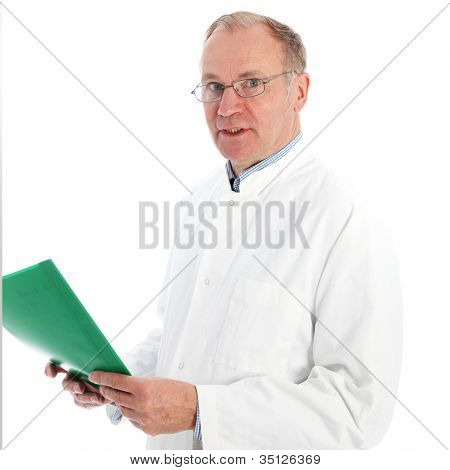 Pathologist In Labcoat Discussing Results
