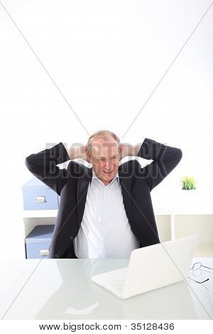 Satisfied Businessman With Raised Arms