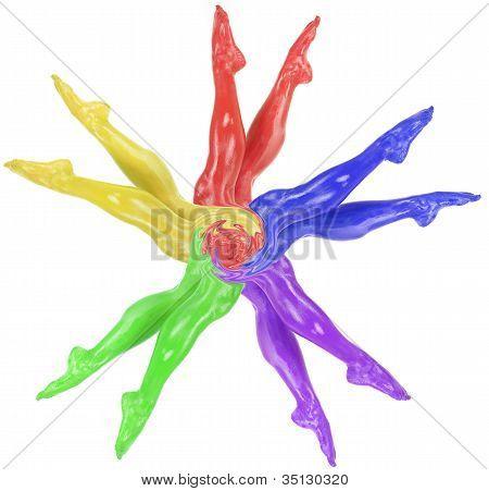 Womans Legs Colored Fan