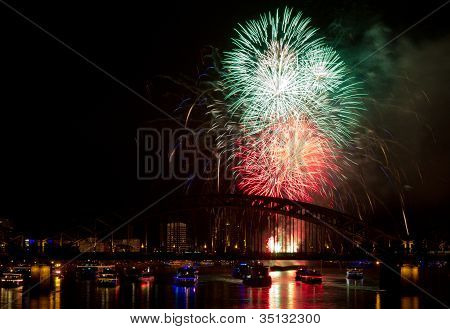 Firework In Red And Green Colors