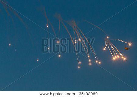 Cargo with anti-missile defence bomb burst