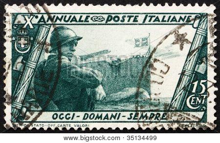 Postage stamp Italy 1932 Marine, Battleship and Seaplane