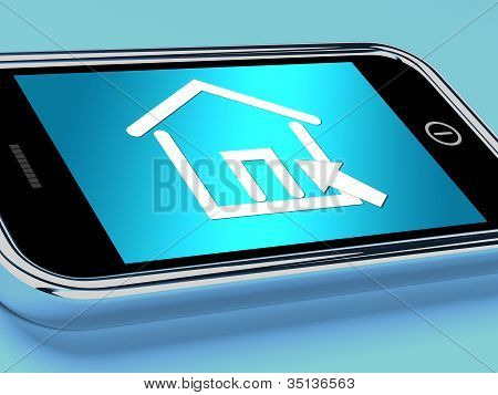 House Symbol On Mobile Screen Shows Real Estate Or Rentals