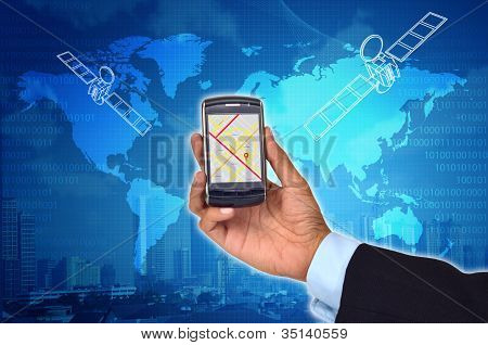 GPS on Smart Phone Concept