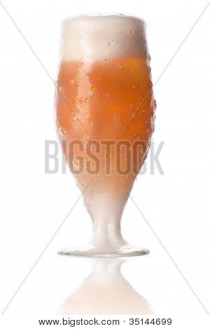Frosty Glass Of Light Beer Full In Foam Isolated