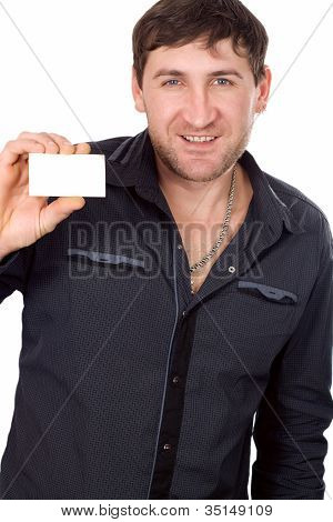 Happy Businessman With Blank Business Card