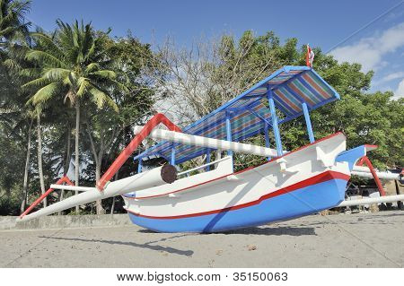 Asian boat beach scene