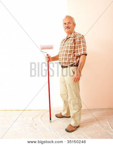 Senior Man With Roll Brush