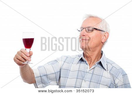 Senior Man Tasting Wine