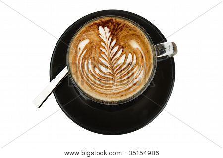 cappuccino com decoração artística de creme rosetta