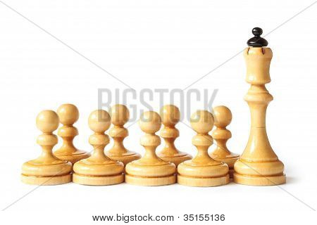 Chess School With Queen And Pawns Isolated