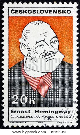 Postage stamp Czechoslovakia 1968 Caricature of Ernest Hemingway