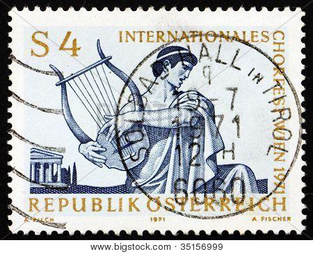Postage stamp Austria 1971 Singer with Lyre