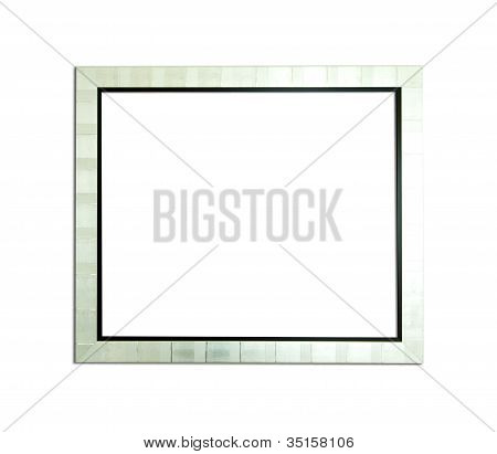 Silver Vintage Picture Frame On White Background