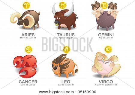 Aries, Taurus, Gemini, Cancer, Leo, Virgo