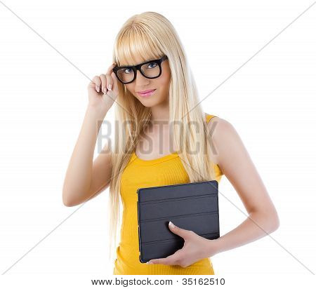 Beautiful Woman Holding Tablet