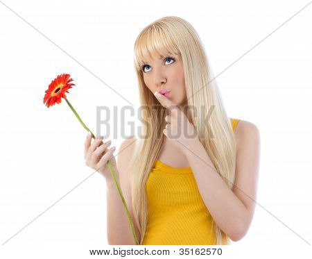 Woman Giving Silence Gesture Holding Daisy