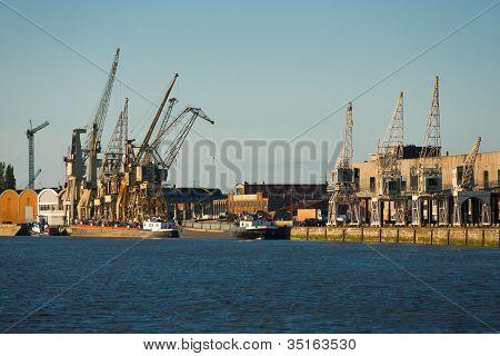 Riverside Antwerp Docks Cranes Ships
